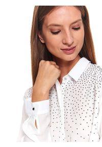 Biała koszula TOP SECRET z długim rękawem, elegancka, długa, z aplikacjami