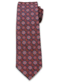 Męski Krawat w Grochy, Kwiatki - 6,7 cm, Chattier, Zgaszony Pomarańcz. Materiał: tkanina. Wzór: grochy. Styl: wizytowy, elegancki
