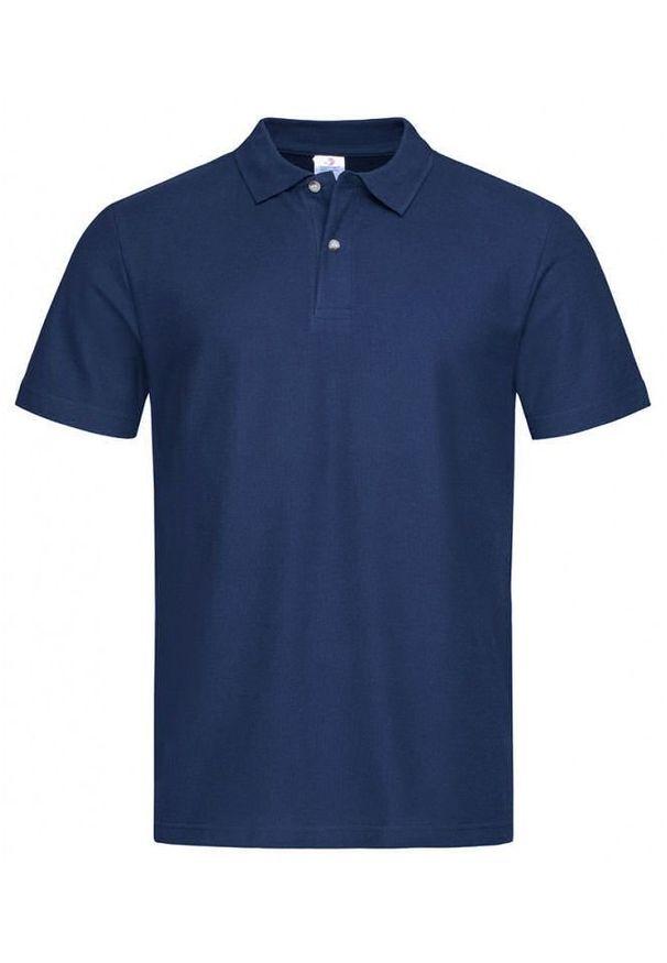 Niebieski t-shirt Stedman na co dzień, z krótkim rękawem, polo, krótki