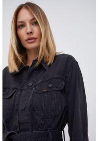 Lee - Kurtka jeansowa. Okazja: na co dzień. Kolor: czarny. Materiał: jeans. Styl: casual