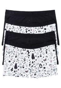 Bokserki damskie (4 pary) bonprix czarno-biel wełny z nadrukiem. Kolor: czarny. Materiał: wełna. Wzór: nadruk