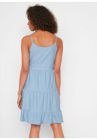 Sukienka shirtowa w optyce dżinsowej bonprix jasnoniebieski. Kolor: niebieski