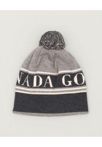 CANADA GOOSE - Szara czapka z pomponem. Kolor: szary. Materiał: wełna. Sezon: zima. Styl: vintage