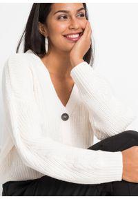 Sweter rozpinany bonprix biel wełny. Kolor: biały. Materiał: wełna