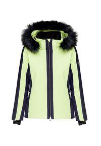 Zielona kurtka narciarska Descente z aplikacjami