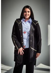 Czarny kardigan Moda Size Plus Iwanek długi, na wiosnę, klasyczny, plus size