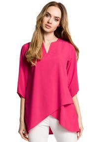 MOE - Różowa Bluzka Wizytowa z Dołem na Zakładkę. Kolor: różowy. Materiał: poliester, elastan. Styl: wizytowy