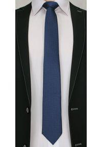 Męski, Oryginalny Krawat w Drobny Rzucik - 6,7cm, -Chattier, Ciemny Niebieski. Kolor: niebieski. Materiał: tkanina. Styl: wizytowy, elegancki