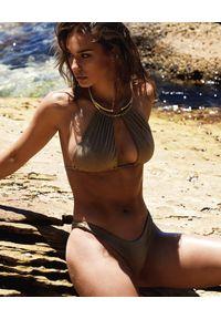BEACH BUNNY - Dół od bikini Aria. Kolor: złoty. Materiał: materiał. Wzór: gładki