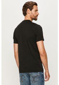 Czarny t-shirt Emporio Armani casualowy, z okrągłym kołnierzem, na co dzień
