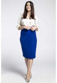 Niebieska spódnica ołówkowa Nommo plus size