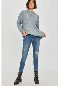 Fioletowy sweter Answear Lab długi, wakacyjny, z długim rękawem