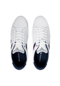 Lacoste - Sneakersy LACOSTE - Chaymon 0120 2 Cma 7-40CMA0067407 Wht/Nvy/Red. Okazja: na co dzień. Kolor: biały. Materiał: skóra ekologiczna, materiał. Szerokość cholewki: normalna. Styl: casual, sportowy