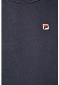 Niebieska bluza nierozpinana Fila z okrągłym kołnierzem, casualowa, na co dzień