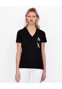 Armani Exchange - ARMANI EXCHANGE - Czarny T-shirt z kontrastowym logo. Okazja: na co dzień. Typ kołnierza: dekolt w serek. Kolor: czarny. Materiał: jeans, bawełna. Wzór: nadruk. Styl: sportowy, klasyczny, casual