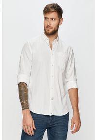 Biała koszula Tom Tailor Denim długa, z klasycznym kołnierzykiem, na co dzień
