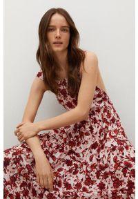mango - Mango - Sukienka bawełniana Coquet. Kolor: czerwony. Materiał: bawełna. Długość rękawa: na ramiączkach. Typ sukienki: rozkloszowane