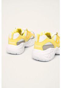 Żółte buty sportowe Kappa na sznurówki, z okrągłym noskiem, z cholewką