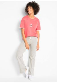 Spodnie shirtowe ze stretchem (2 pary), długie, Level 1 bonprix czarny + jasnoszary melanż. Kolor: czarny. Długość: długie. Wzór: melanż