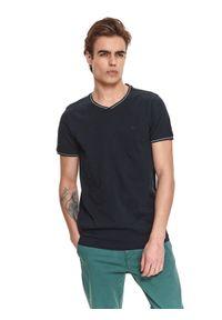 TOP SECRET - T-shirt krótki rękaw męski z fakturą, z lamówkami. Kolor: niebieski. Materiał: bawełna, tkanina. Długość rękawa: krótki rękaw. Długość: krótkie
