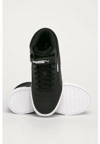 Czarne buty sportowe Puma na średnim obcasie, z cholewką