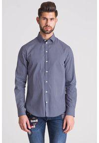 Niebieska koszula Emporio Armani na spotkanie biznesowe, casualowa, na lato