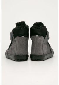 Srebrne buty zimowe Mrugała z okrągłym noskiem, z cholewką, na rzepy