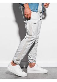 Ombre Clothing - Spodnie męskie joggery P893 - szare - XXL. Kolor: szary. Materiał: bawełna, elastan. Wzór: aplikacja #4