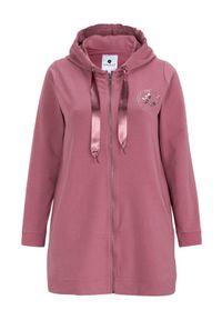 Zhenzi Bluza różowy female różowy 54/56 (XL). Typ kołnierza: kaptur. Kolor: różowy. Materiał: dresówka, satyna. Wzór: nadruk