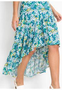 Spódnica z dłuższym tyłem bonprix niebieski oceaniczny w kwiaty. Kolor: niebieski. Długość: długie. Wzór: kwiaty