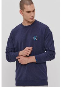 Calvin Klein Underwear - Bluza piżamowa CK One. Kolor: niebieski. Materiał: dzianina. Wzór: gładki