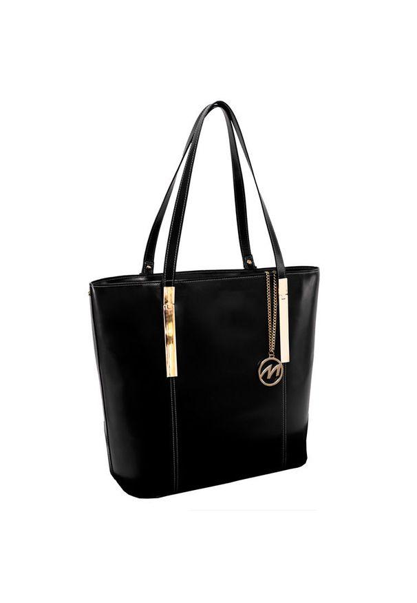 MCKLEIN - Ekskluzywna skórzana torebka damska czarna Mcklein Cristina 97545. Kolor: czarny. Materiał: skórzane. Styl: klasyczny, elegancki. Rodzaj torebki: na ramię