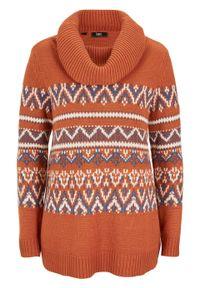 Sweter w norweski wzór, z szerokim golfem bonprix pomarańczowo-brązowy w norweski wzór. Typ kołnierza: golf. Kolor: brązowy. Materiał: materiał, akryl