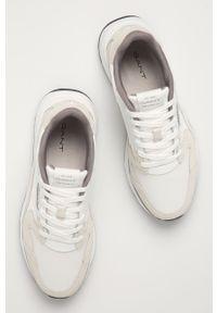 Białe sneakersy GANT na sznurówki, z okrągłym noskiem, z cholewką