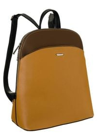 DAVID JONES - Plecak damski żółto-brązowy David Jones 6509-1 YELLOW. Kolor: wielokolorowy, brązowy, żółty. Materiał: skóra ekologiczna