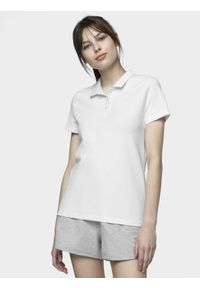 4f - Koszulka polo damska. Okazja: na co dzień. Typ kołnierza: polo. Kolor: biały. Materiał: dzianina. Styl: casual