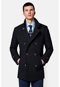 Lancerto - Płaszcz Czarny Embrace. Kolor: czarny. Materiał: materiał, wełna, tkanina, włókno, poliamid, poliester