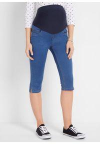 Rybaczki dżinsowe ciążowe bonprix niebieski denim. Kolekcja: moda ciążowa. Kolor: niebieski