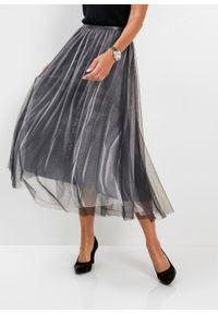 Spódnica z siatkowego materiału z połyskiem bonprix szary metaliczny. Kolor: szary. Materiał: materiał. Styl: elegancki