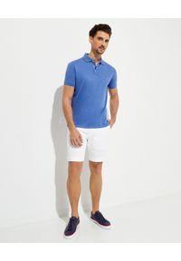 Ralph Lauren - RALPH LAUREN - Niebieska koszulka polo Custom Slim Fit. Typ kołnierza: polo. Kolor: niebieski. Materiał: bawełna, prążkowany. Wzór: kolorowy, haft