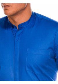 Niebieska koszula Ombre Clothing ze stójką, z długim rękawem, w jednolite wzory