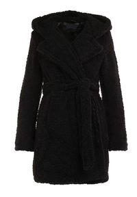 Born2be - Czarny Płaszcz Evala. Kolor: czarny. Materiał: tkanina, futro, materiał, prążkowany