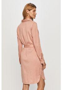 Różowa sukienka Vila mini, z długim rękawem