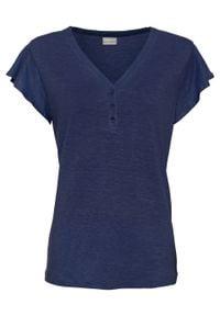 Shirt lniany z rękawami falbanowymi bonprix kobaltowy. Kolor: niebieski. Materiał: len