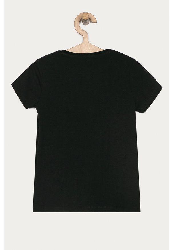 Czarna bluzka z krótkim rękawem Guess Jeans krótka, z nadrukiem, z okrągłym kołnierzem, na co dzień