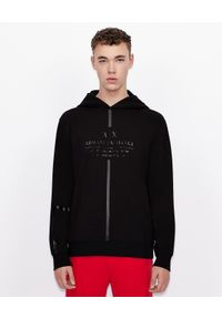 Armani Exchange - ARMANI EXCHANGE - Czarna bluza z kapturem. Typ kołnierza: kaptur. Kolor: czarny. Materiał: materiał. Wzór: paski. Styl: sportowy, klasyczny