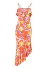 Sukienka z nadrukiem bonprix pomarańczowo-jasnoróżowo-żółty z nadrukiem. Kolor: pomarańczowy. Wzór: nadruk. Typ sukienki: asymetryczne