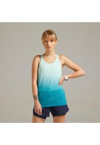 KIPRUN - Koszulka Do Biegania Bez Rękawów Kiprun Care Damska. Kolor: biały, zielony, wielokolorowy. Materiał: tkanina, elastan, poliester, poliamid, materiał. Długość rękawa: bez rękawów
