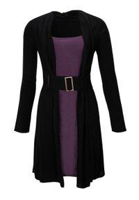 Sukienka dzianinowa z paskiem bonprix czarny-lila. Kolor: czarny. Materiał: dzianina