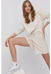 Vero Moda - Szorty. Kolor: beżowy. Materiał: bawełna, dzianina, materiał. Wzór: gładki
